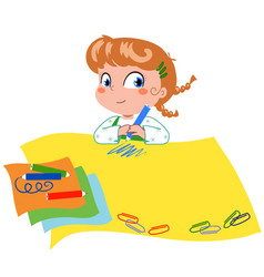 cute girl writing on big paper vector image vector image