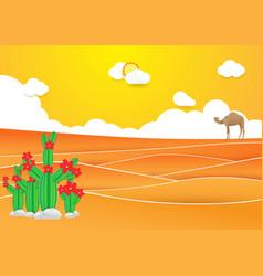 desert landscape cactus and camel in desert vector image vector image