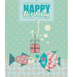 Fish Birthday Card vector image vector image