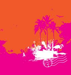 tropical island vintage style vector image