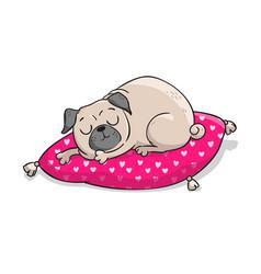 cute pug hand drawn cartoon vector image vector image