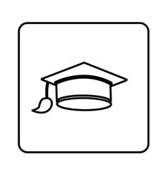 monochrome contour square with graduation hat vector image vector image