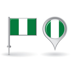 Nigerian pin icon and map pointer flag vector image