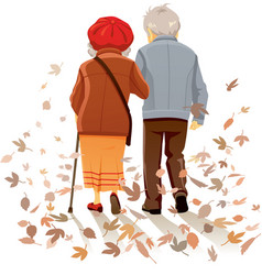 old couple in love walking in autumn decor vector image