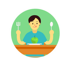 young man prepare to eat apple with spoon and vector image vector image