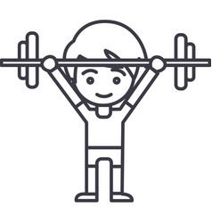 boy weights up line icon sign vector image