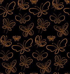 butterfly set pattern gold on black simbols vector image