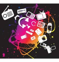 electronic gadgets grunge splat vector image vector image