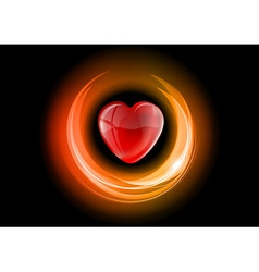 heart neon light dark orange vector image vector image