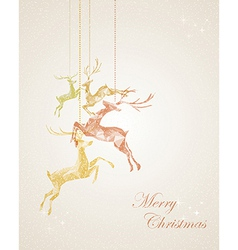 Merry Christmas abstract hanging reindeer greeting vector image vector image