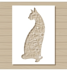 stencil template of cat on wooden background vector image vector image