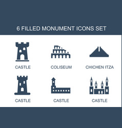 6 monument icons vector