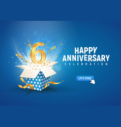 6 th years anniversary banner with open burst gift vector image
