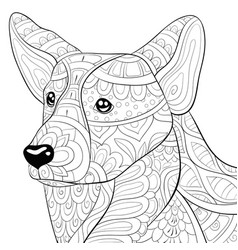 Adult coloring bookpage a cute dog vector