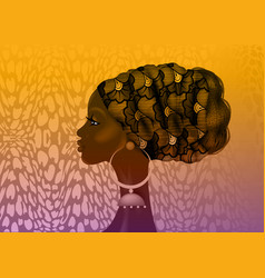 afro hairstyle beautiful portrait african woman vector image