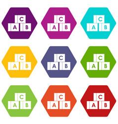 alphabet cubes with letters abc icon set color vector image