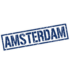 amsterdam blue square stamp vector image