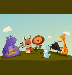 Animals playing music instrument in a band vector