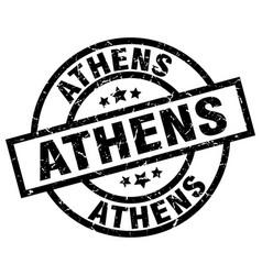 Athens black round grunge stamp vector
