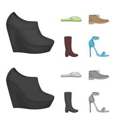 Autumn black shoes on a high platform flip-flops vector