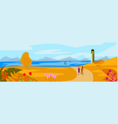 Autumn landscape concept with lighthouse on vector