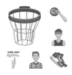 Basketball and attributes monochrome icons in set vector