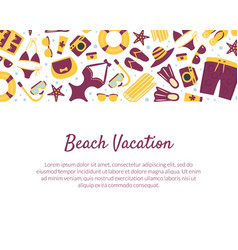 beach vacation banner template summertime vector image