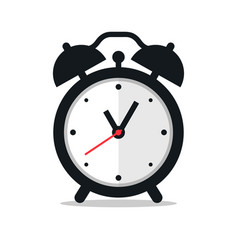 black alarm clock icon on white background vector image