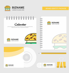 burger logo calendar template cd cover diary and vector image