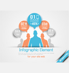 Business man infographic option three 4 orange vector