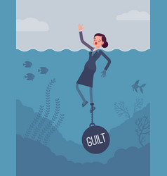 Businesswoman drowning chained with a weight guilt vector