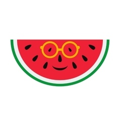 Cheerful cartoon watermelon in glasses vector
