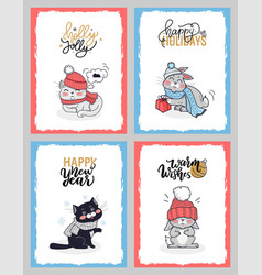 christmas cartoon animals cute cat lovely bunny vector image