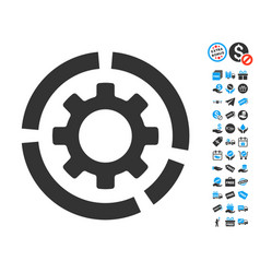 Circle diagram configuration gear icon with free vector