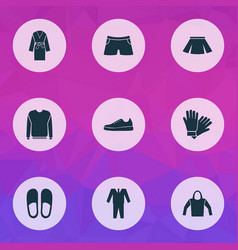 clothes icons set with pullover hoodie glove and vector image