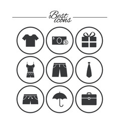 clothing accessories icons shopping signs vector image