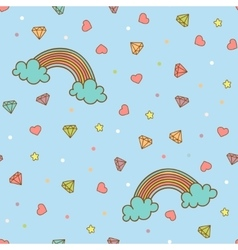 Colorful seamless pattern with rainbow heart vector