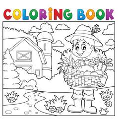 coloring book woman farmer theme 2 vector image