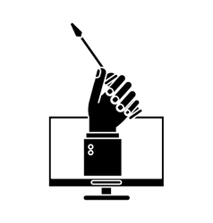 Computer hand holds screwdriver under construction vector