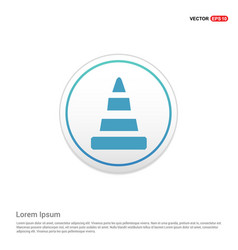 cone icon - white circle button vector image