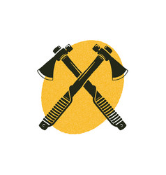 Crossed axes icon with yellow shape behind vector