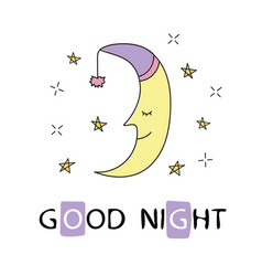 Cute sleeping crescent moon in the night sky vector