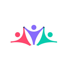 family people logo icon on overlap overlapping vector image