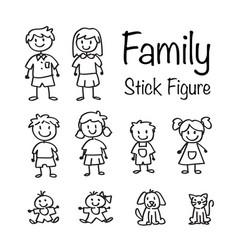Family stick figure doodle set vector