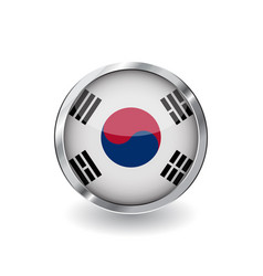 flag of south korea button with metal frame and vector image