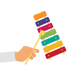 Flat colorful xylophone toy vector