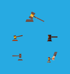 flat icon lawyer set of crime legal court and vector image