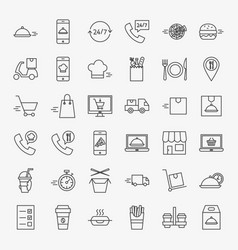 food delivery line icons set vector image