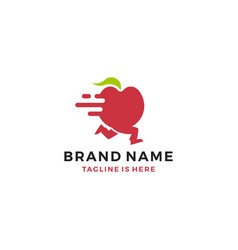 Fruit delivery running apple logo template icon vector
