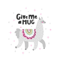 Give me a hug lama vector